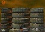 Escóndete detrás de las neumáticos para que no te disparen en Mad Max Guerrero del Apocalipsis