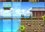 Recoge las monedas repartidas alrededor de las plataformas en Pacman Fight