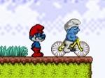 Pitufos en bicicleta
